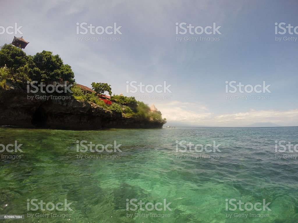 The sea and house on the cliff in Bali Indonesia stock photo