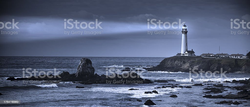 The sea and Pigeon Point Lighthouse, California stock photo