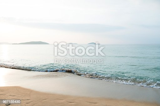 The sea and the beach at dusk