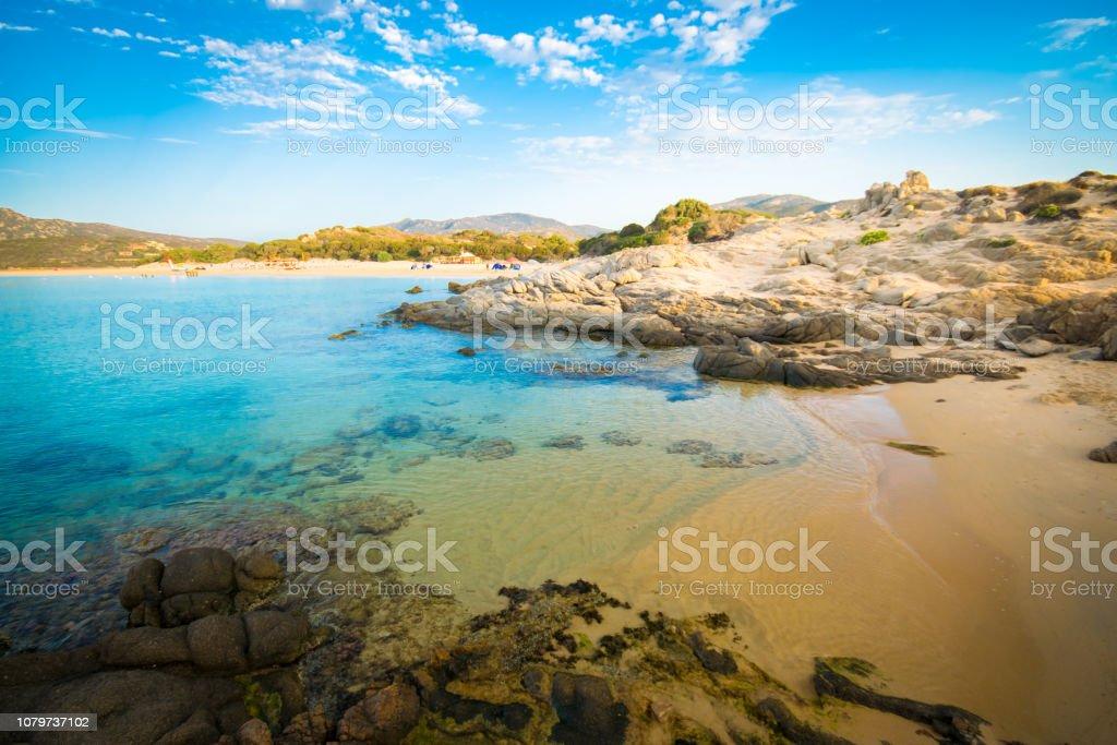 The sea and the pristine beaches of Chia, Sardinia, Italy. stock photo