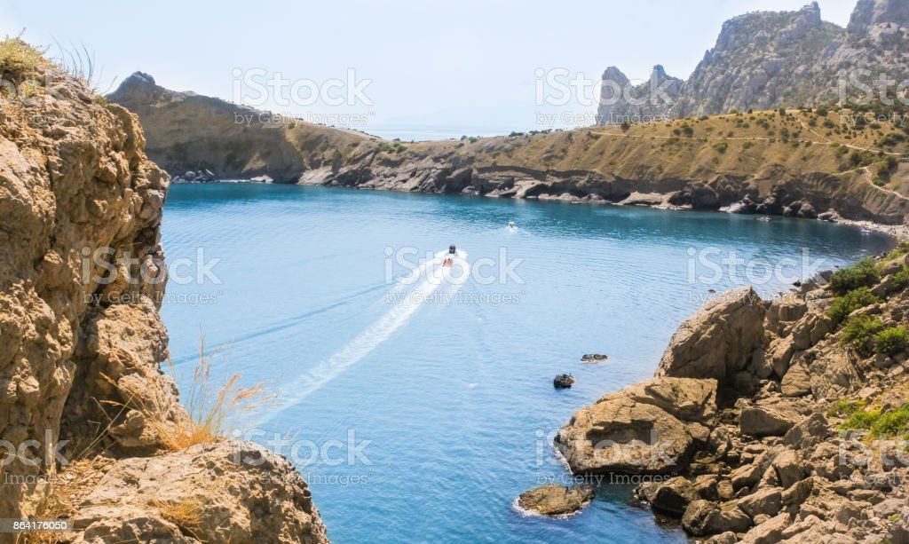 The sea bay between the rocks. royalty-free stock photo