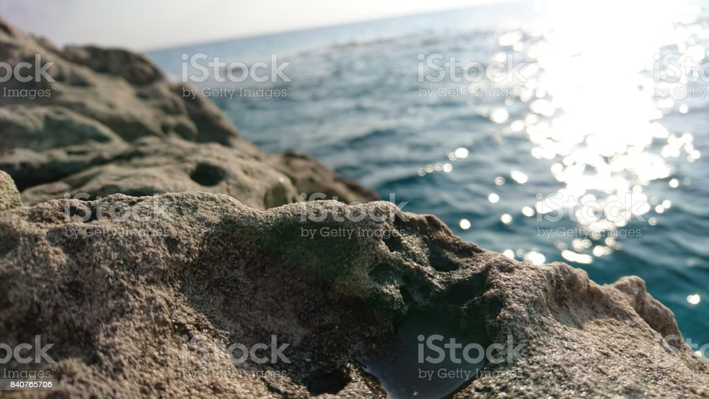 The sea behind stock photo