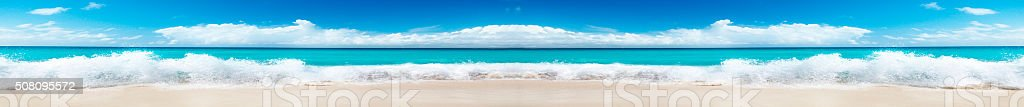 The sea coast in a panoramic image stock photo
