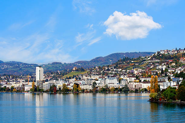 The sea cost of Montreux stock photo