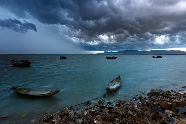 The sea during the storm is comming stock photo