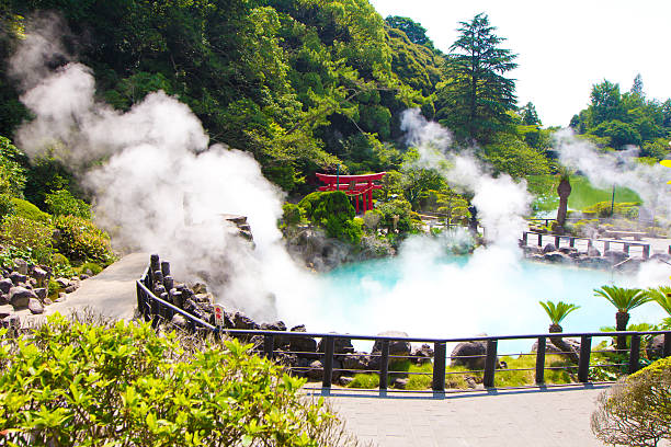 The Sea Hell Jigoku garden in Bepou, Japan One of the eight hells (Jigoku), multi-colored volcanic pool of boiling water in Kannawa district in Beppu, Japan. hot spring stock pictures, royalty-free photos & images
