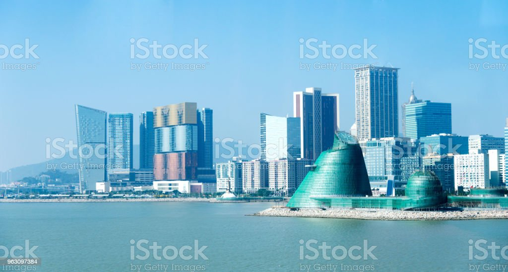 The sea in the urban landscape of Macao stock photo