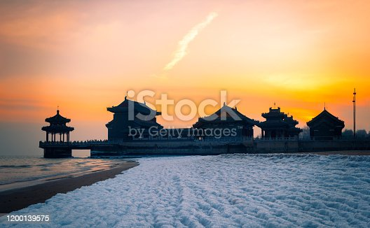 The sea temple is located in the old leading great wall of Shanhaiguan, Qinhuangdao City, Hebei Province, North China. It was built at the end of Ming Dynasty and was the place where the ancient working people sacrificed to the sea.