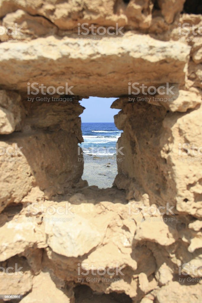 The Sea Through Castle Wall royalty-free stock photo