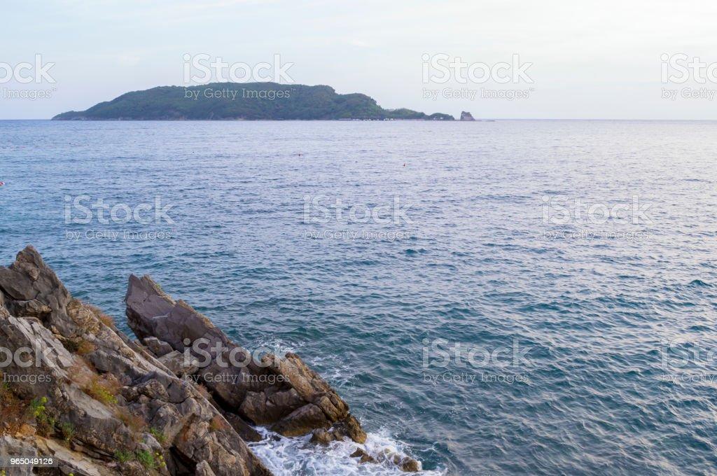The sea view. Evening. Island on the horizon. Adriatic zbiór zdjęć royalty-free