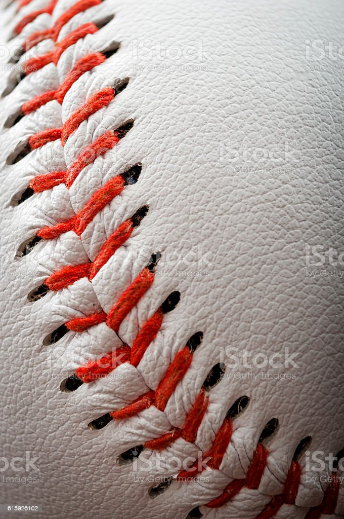 The seam of a baseball stock photo