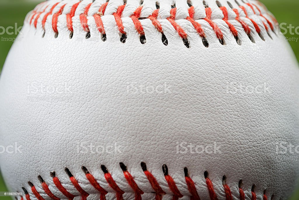 The seam of a baseball with copyspace – Foto