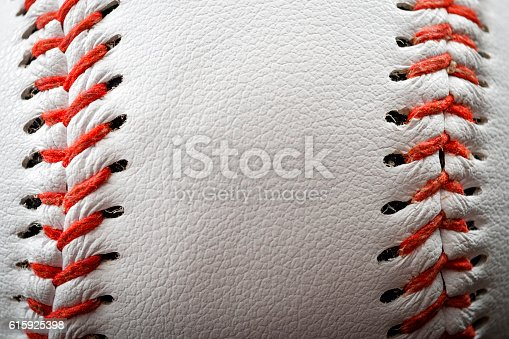 istock The seam on a baseball with copyspace 615925398