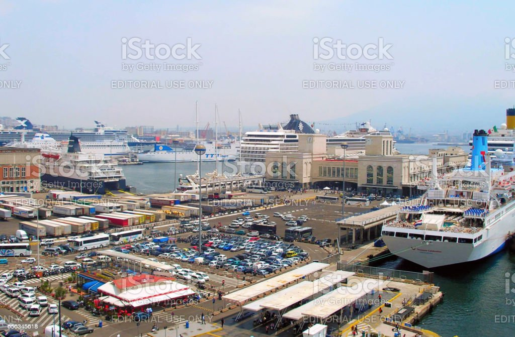 The seaport in Naples. stock photo