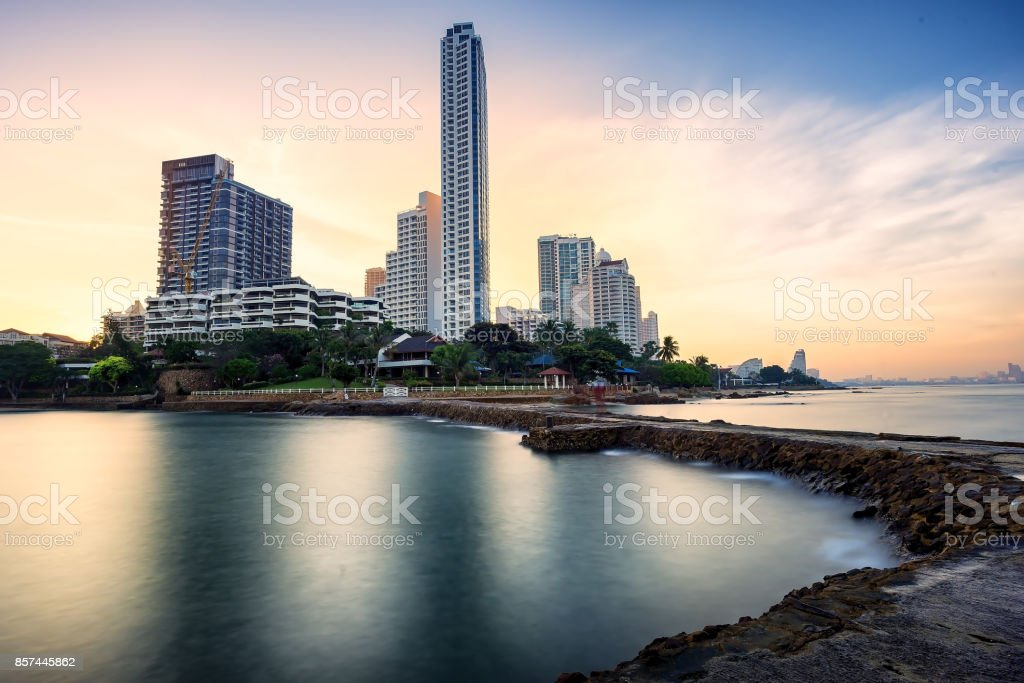 The seaside town and landscape lighting and a beautiful beach at PattayaThailand royalty- & The Seaside Town And Landscape Lighting And A Beautiful Beach At ...