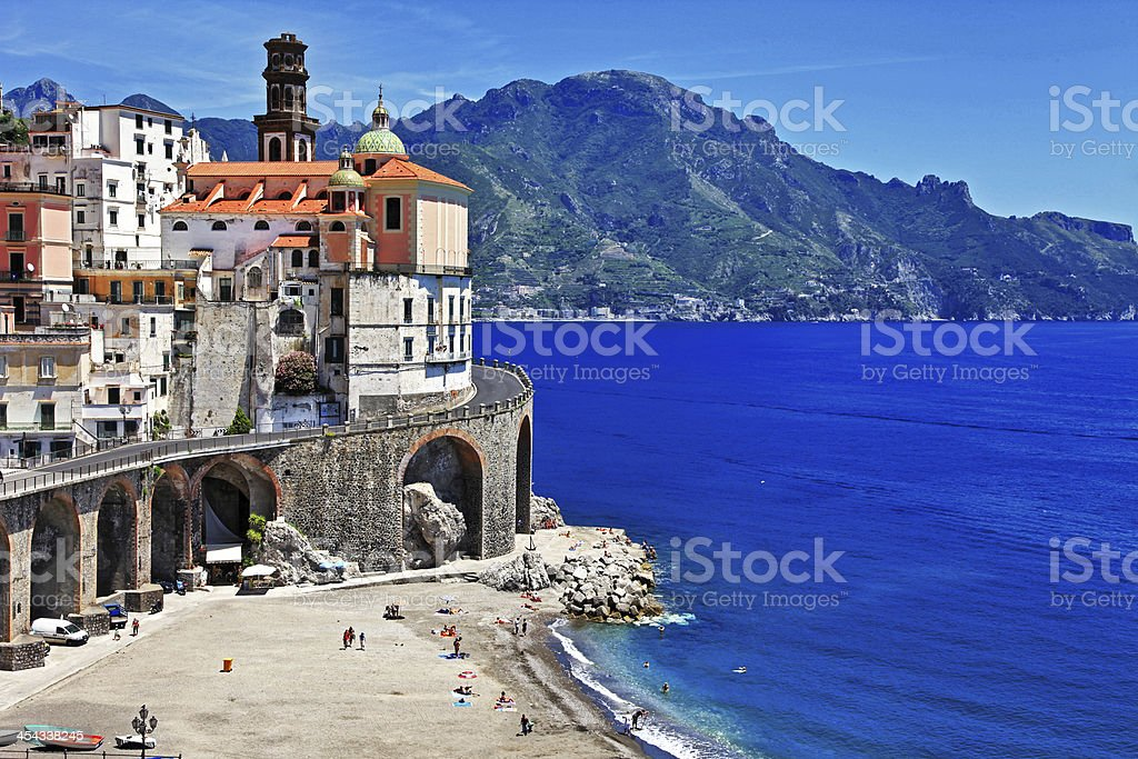 The seaside village of Atrani with mountains in the distance stock photo