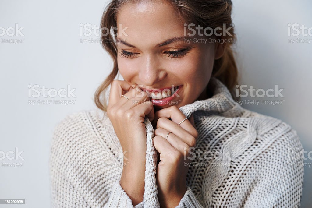 The season for snuggly sweaters stock photo