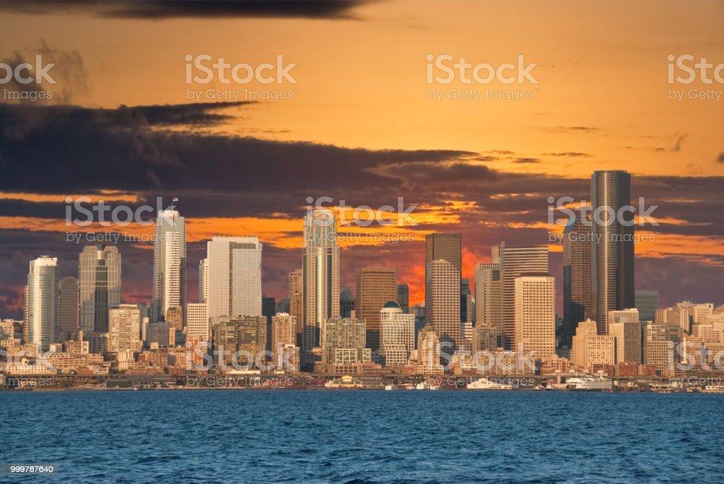 The Seattle Skyline at Sunset stock photo