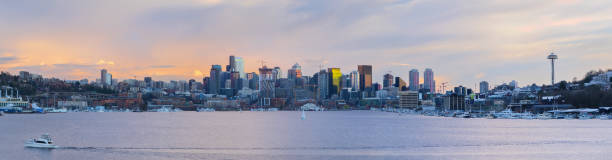 The Seattle Skyline From The Gasworks Park stock photo