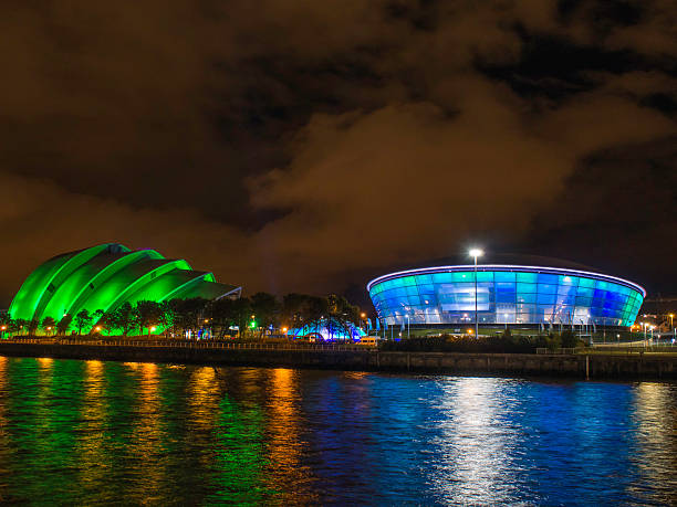 The SECC Clyde Auditorium and SSE Hydro at night. stock photo