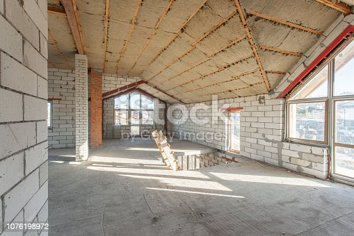 466705128 istock photo The second attic floor of the house. overhaul and reconstruction. Working process of warming inside part of roof. House or apartment is under construction, remodeling, renovation, restoration. 1076198972