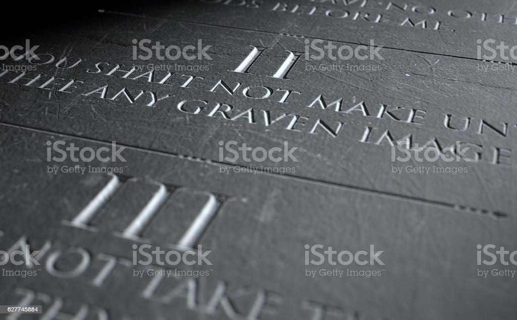 The Second Commandment stock photo