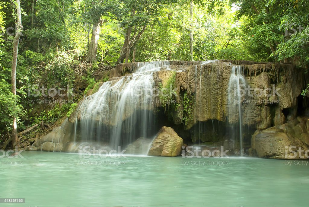 The second step of the waterfall in Erawan Park stock photo