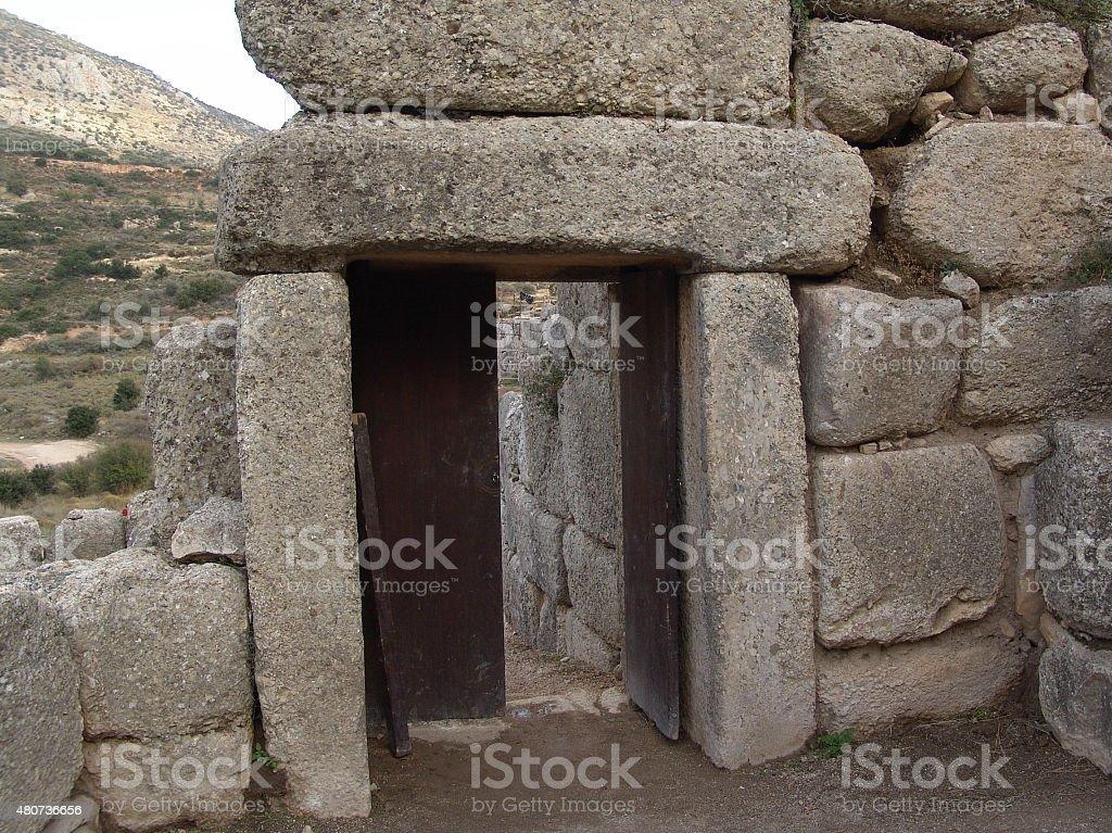 The secondary entrance of the Mycenae citadel stock photo