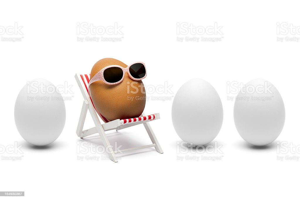 The secret about brown eggs - Humor Sunglasses lounger stock photo