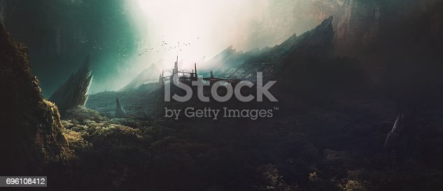 istock The secret lab in the canyon,Digital painting,3d rendering. 696108412