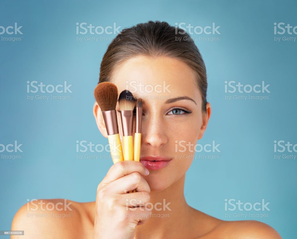 The secret to a flawless makeup routine stock photo
