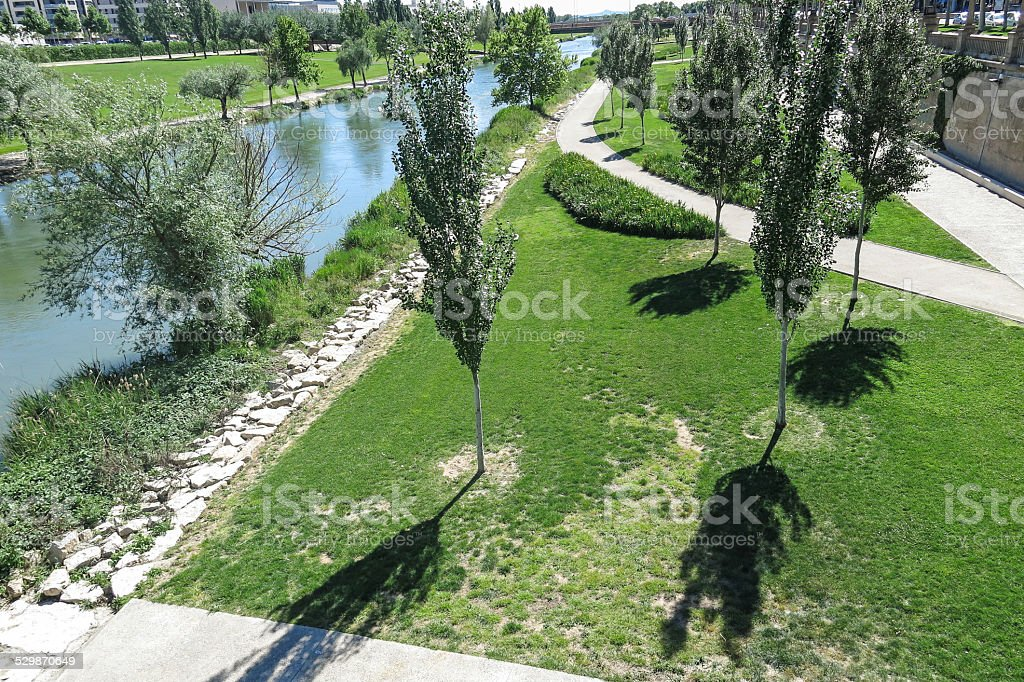 The Segre River in Lleida, Spain stock photo