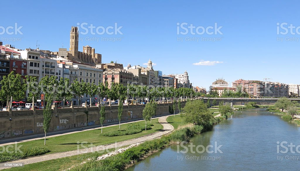 The Segre River in Lleida, Spain stock photo