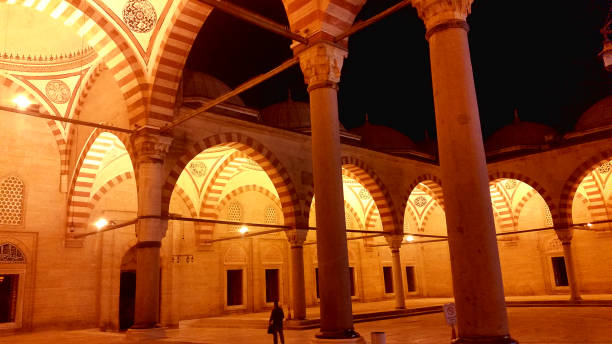 The Selimiye Mosque Complex at Edirne Edirne,Turkey, July 28, 2017: The Selimiye Mosque Complex at Edirne is a masterpiece of the human creative genius of the architect Sinan, the most famous of all Ottoman architects in the 16th century. selimiye mosque night stock pictures, royalty-free photos & images