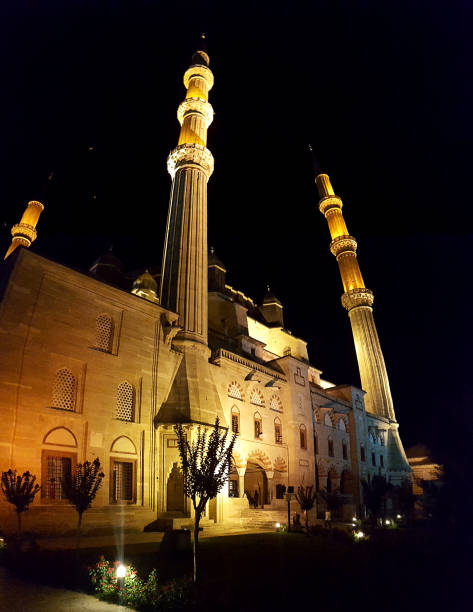The Selimiye Mosque Complex in Edirne Edirne,Turkey, July 28, 2017: The Selimiye Mosque Complex at Edirne is a masterpiece of the human creative genius of the architect Sinan, the most famous of all Ottoman architects in the 16th century. selimiye mosque night stock pictures, royalty-free photos & images