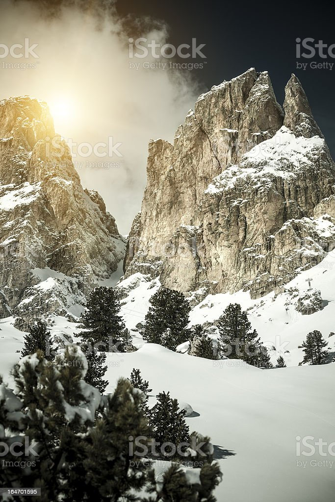 The Sella Massif, Dolomites, Italy stock photo