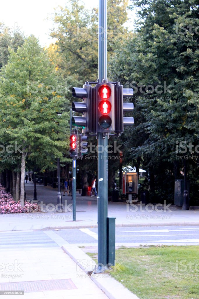 the semaphore of Pedestrian traffic lights Oslo, Norway stock photo