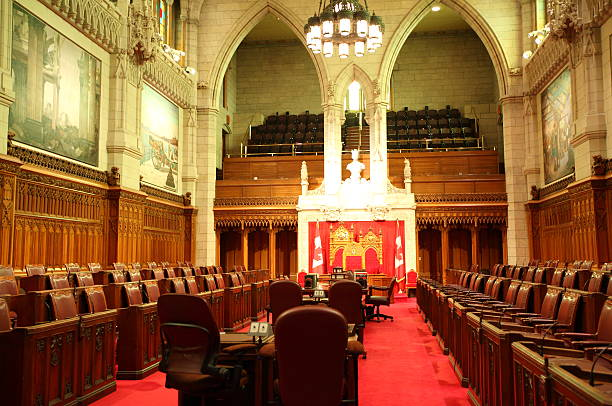 the senate of canada - red chamber - canada parliament stock photos and pictures
