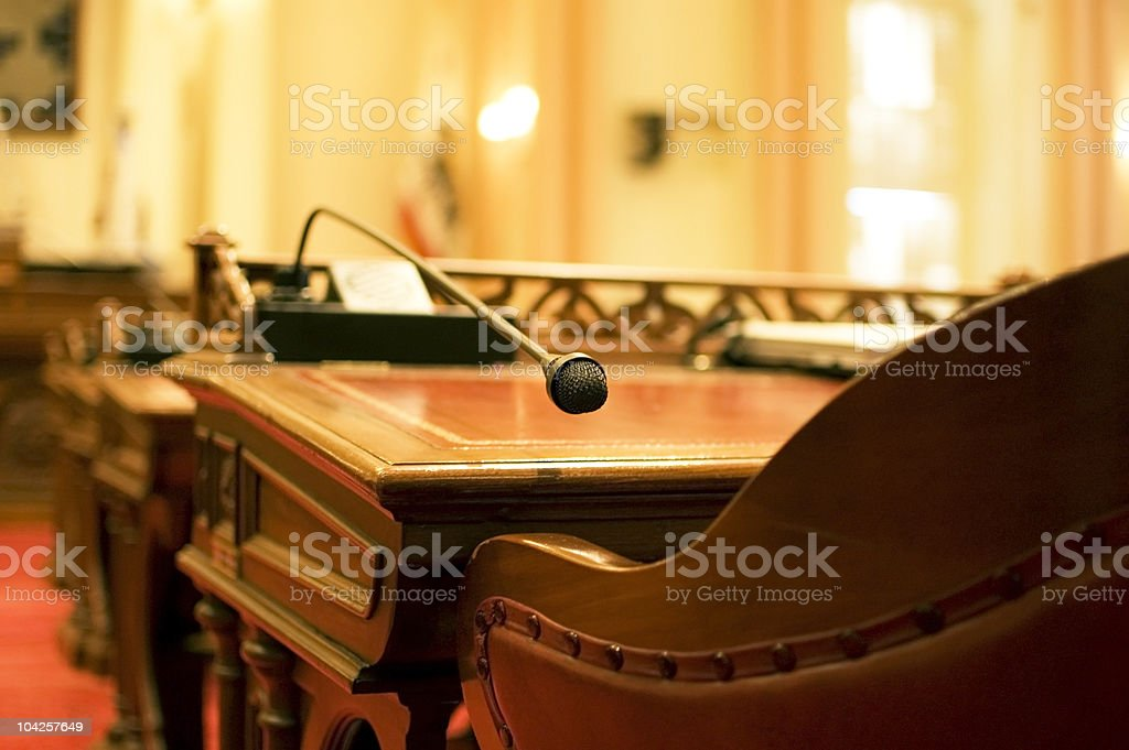 The Senator's Microphone stock photo