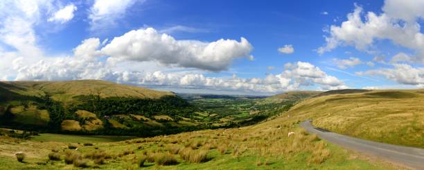 The Senni Valley panorama The Senni Valley in the Brecon Beacons National Park. brecon beacons stock pictures, royalty-free photos & images