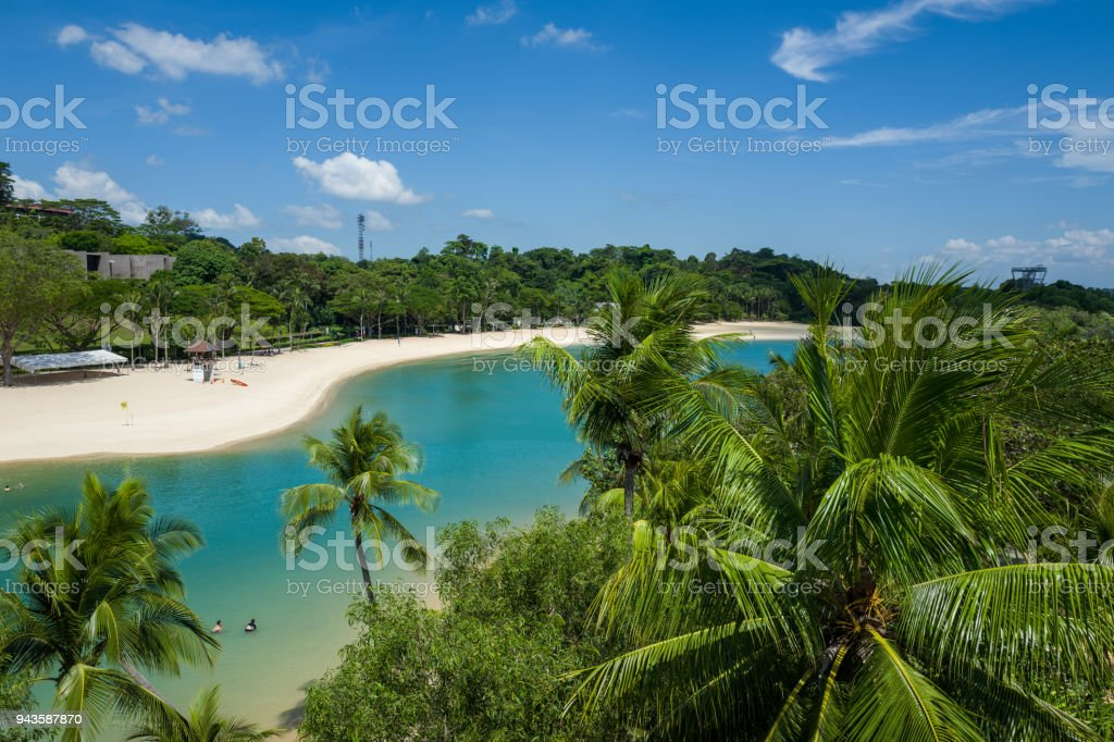 The Sentosa Beach in Singapore stock photo