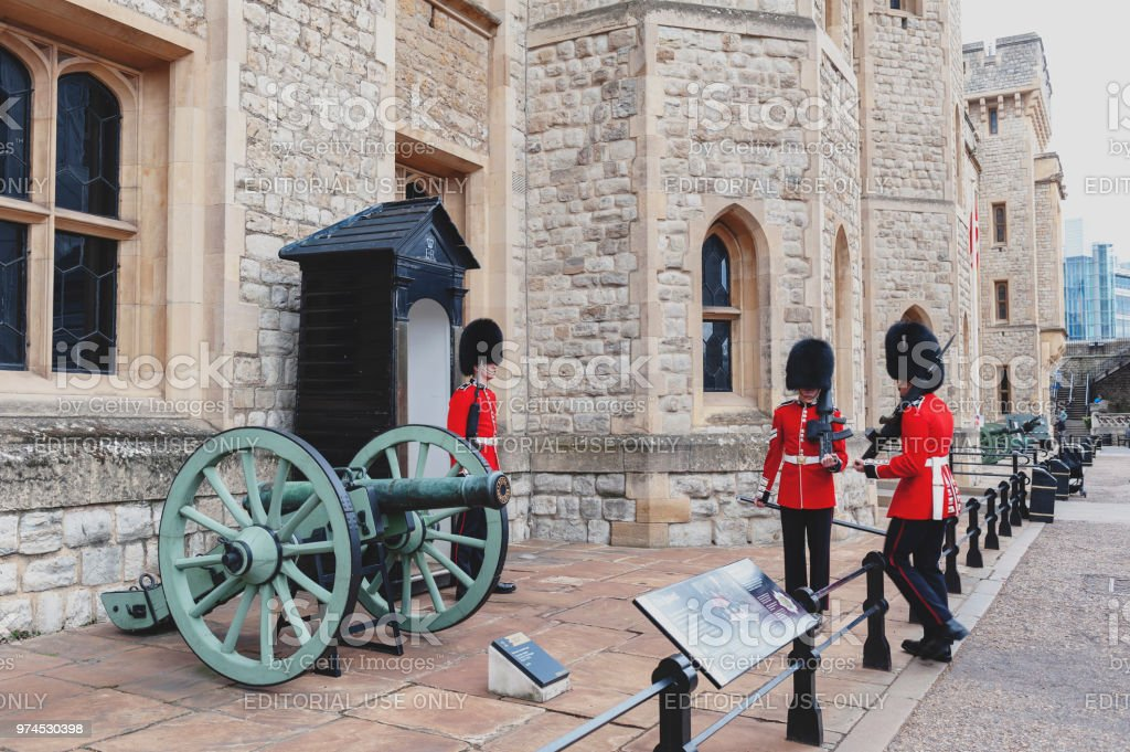 The sentry of the Jewel House at Waterloo Block building, venue for the Crown Jewels Exhibition, inside Tower of London, a historic castle and popular tourist attraction by the River Thames in central London, England stock photo