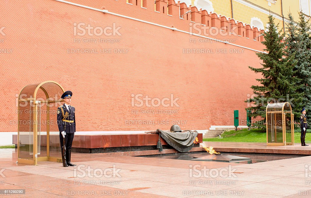 The Sentry stands  at the Eternal Flame stock photo