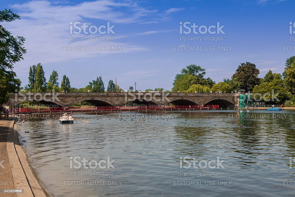 The Serpentine Lake in Hyde Park, London, England. stock photo