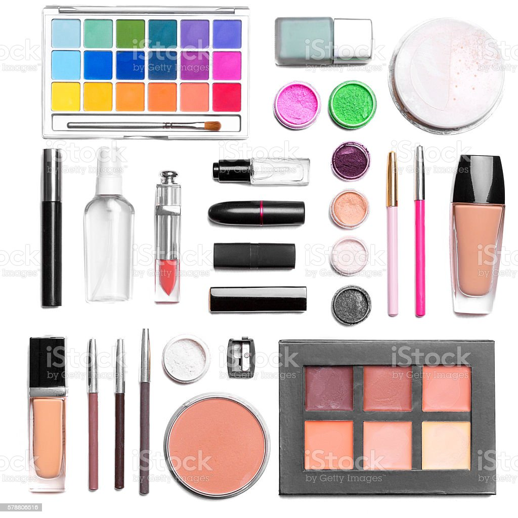the set of cosmetics. the view from the top stock photo