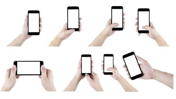 白い背景の上に孤立したスマートフォンと手のセット。 - 親指 ストックフォトと画像
