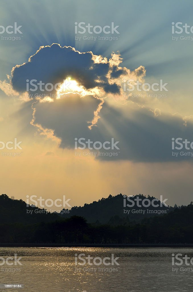 the setting sun royalty-free stock photo