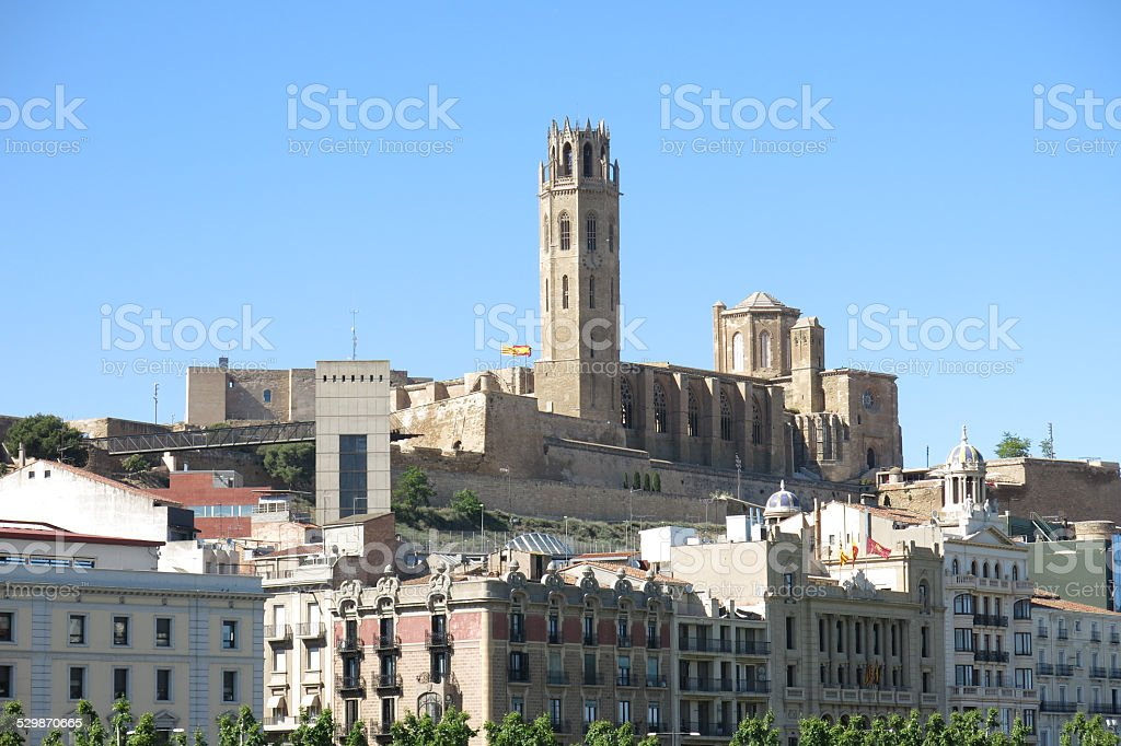 The Seu, Old Cathedral, of Lleida. Catalonia, Spain. stock photo