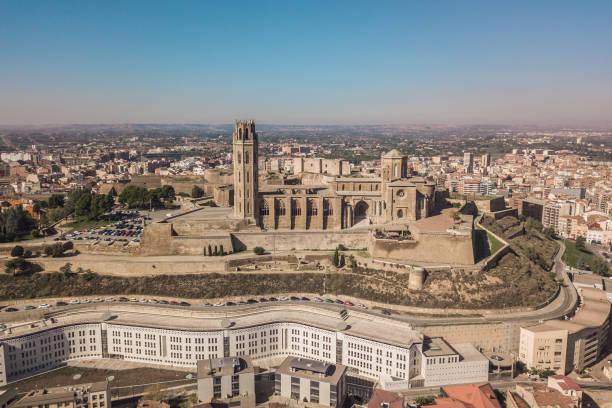 the seu vella cathedral in lleida - lleida стоковые фото и изображения