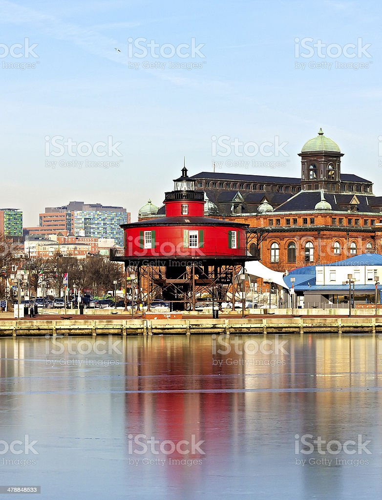 The Seven Foot Knoll Lighthouse in Baltimore Inner Harbor. stock photo